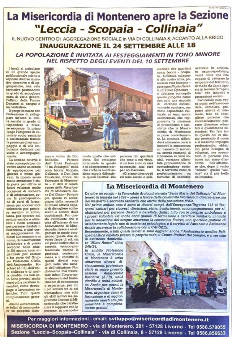Il Tirreno: la Misericordia di Montenero apre il nuovo Centro di Aggregazione Sociale il 24 Settembre