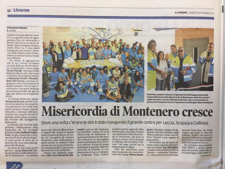 Il Tirreno: Misericordia di Montenero cresce