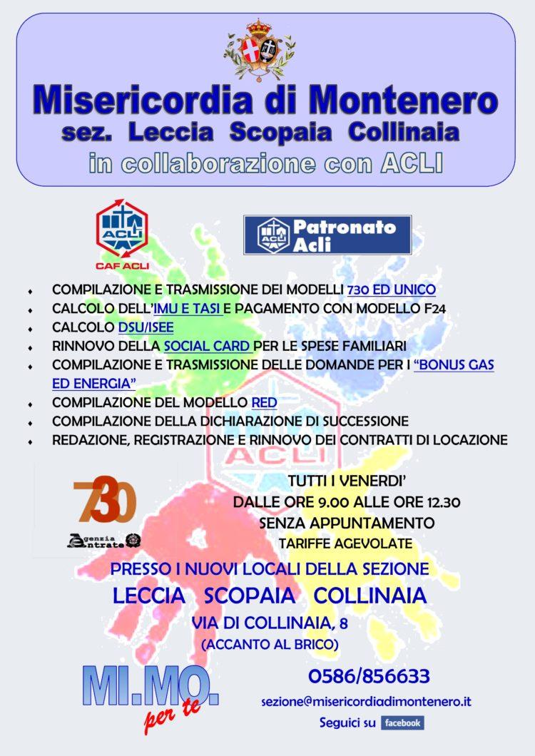 """Il CAF/ACLI anche alla Leccia, nella Sezione """"Leccia – Scopaia – Collinaia"""" della Misericordia di Montenero"""