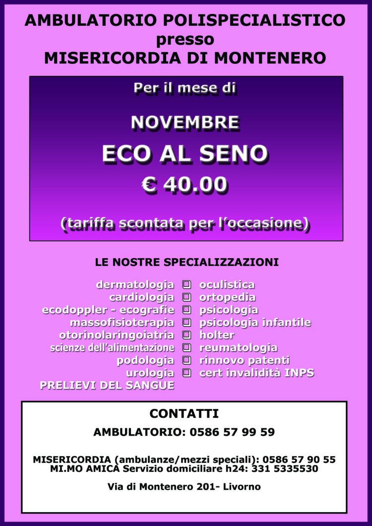 Ambulatorio presso Misericordia Montenero – Offerta di Novembre: Eco Seno 40 Euro