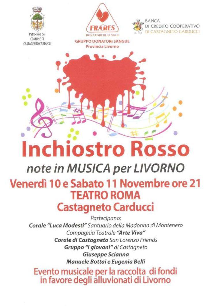 Inchiostro Rosso, Note in musica per Livorno: Venerdì 10 e Sabato 11 Novembre a Castagneto Carducci, Teatro Roma