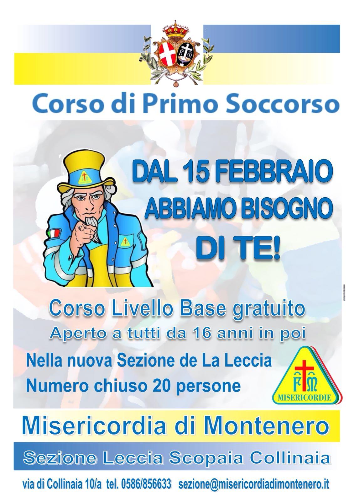 Corso Base per Soccorritori Volontari – Inizia il 15 Febbraio, ore 21