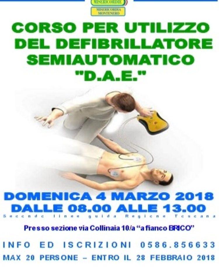 Corso DAE (defibrillatore semiautomatico): Domenica 4 Marzo, dalle 8 alle 13