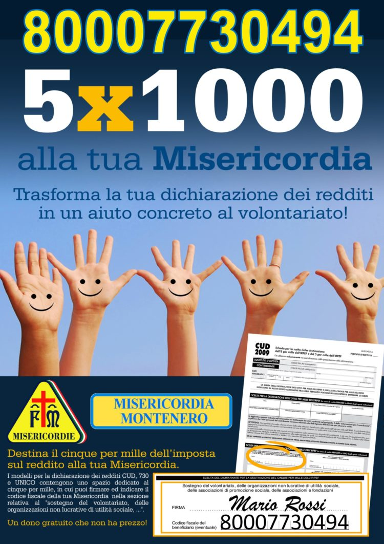 """""""DONA IL TUO 5 * 1000 ALLA MISERICORDIA DI MONTENERO"""""""