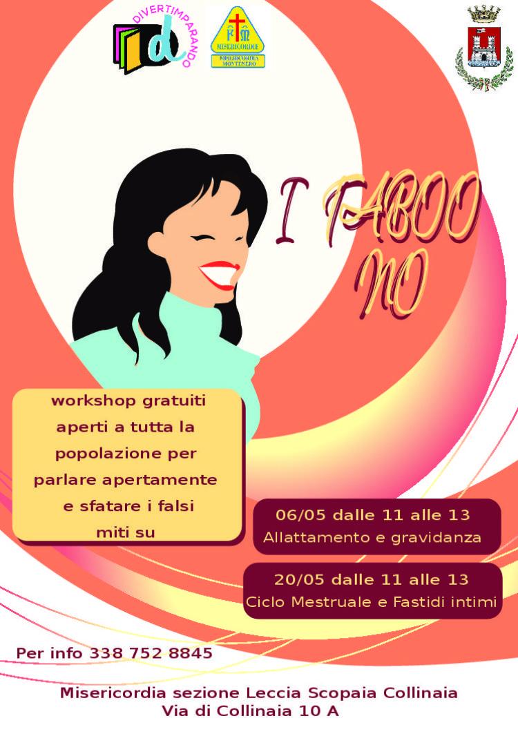 I TABOO' NO (per favore): due incontri per sfatare i falsi miti, Domenica 6 Maggio e Domenica 20 Maggio
