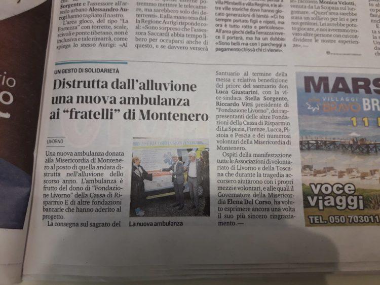 """Il Tirreno: Distrutta dall'alluvione una nuova ambulanza ai """"fratelli"""" di Montenero"""