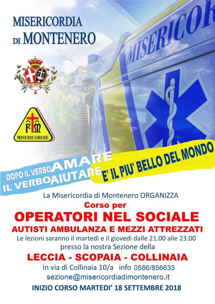 """""""OPERATORE NEL SOCIALE"""" : il nuovo Corso per divenire Volontari, Accompagnatori e Autisti di Ambulanza e mezzi sociali, dal 18 Settembre"""