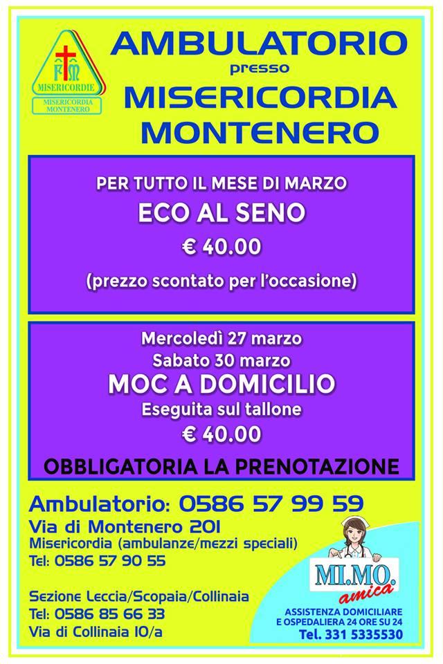 Ambulatorio Polispecialistico presso la Misericordia di Montenero: le offerte del mese di Marzo