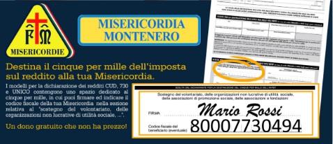 Dona il tuo 5×1000 alla Misericordia di Montenero