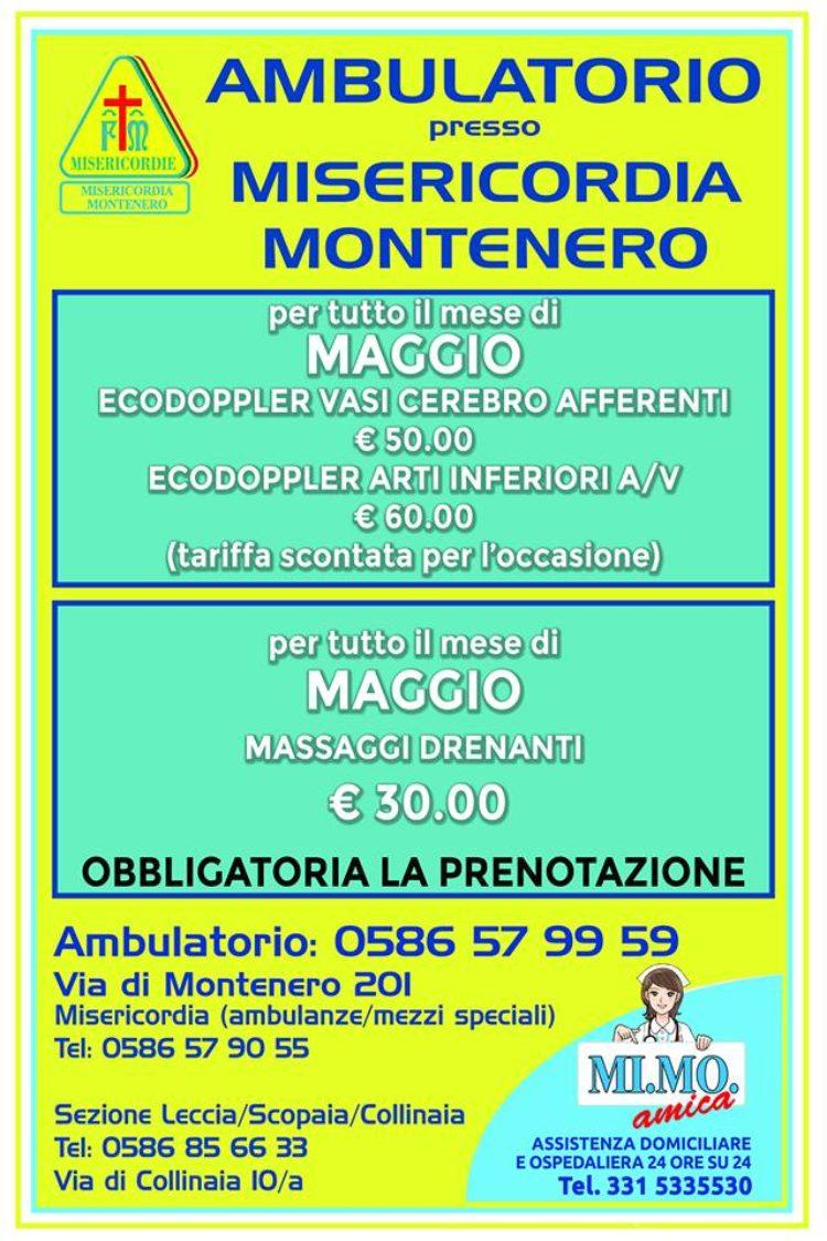 Ambulatorio presso la Misericordia di Montenero: le offerte del mese di MAGGIO