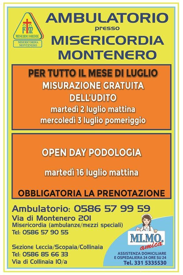 Ambulatorio presso Misericordia di Montenero: le offerte per il mese di LUGLIO