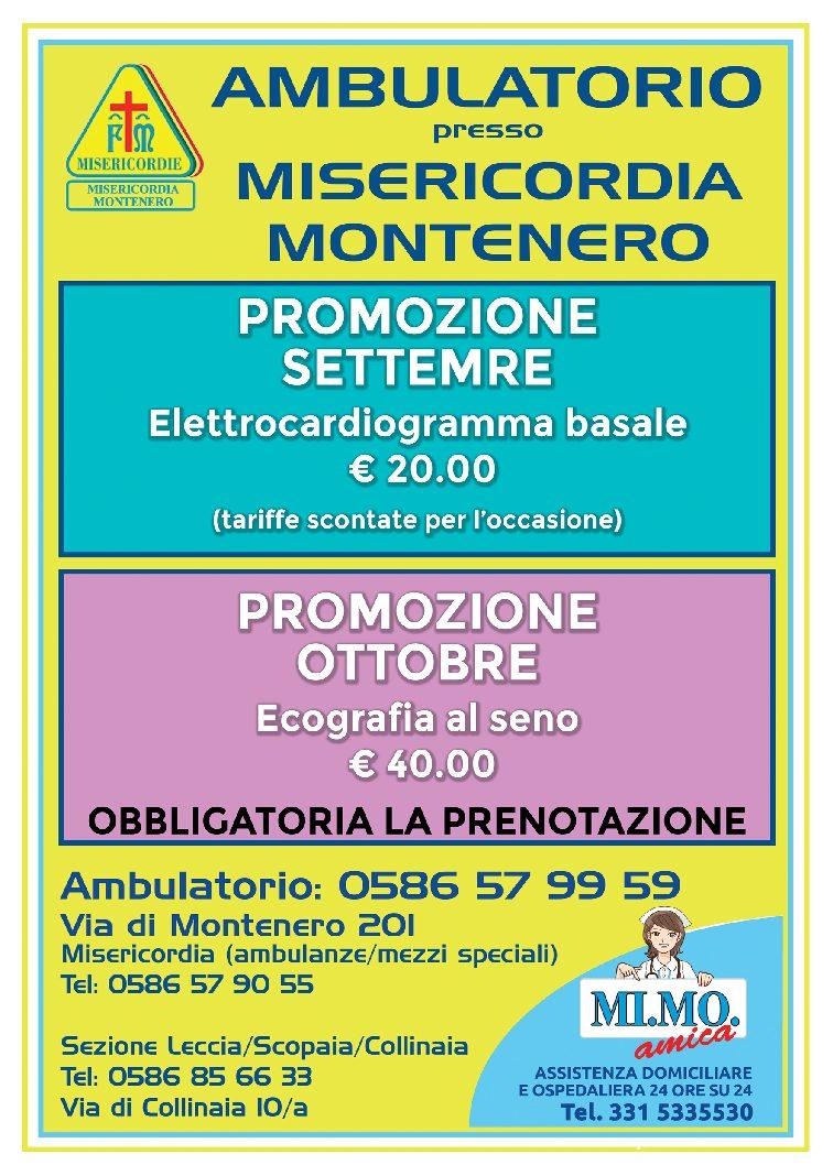 Ambulatorio presso Misericordia di Montenero: le offerte per i mesi di SETTEMBRE e OTTOBRE